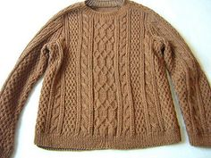 Aran sweater #361-T1-276 by Phildar Design Team One of those rare occasions when a darker colour suits the aran stitching