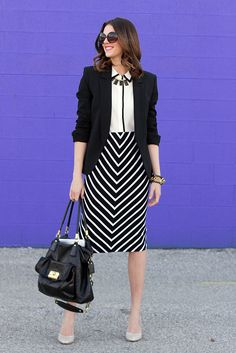 What I Wore: Black & White, Jessica Quirk, Stripes, Chevron Skirt, Spring Outfit