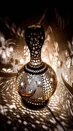 Handmade Gourd Lamp -The product is sanded and varnished. Lampe Art Deco, Art Deco Lamps, Wood Burning Techniques, Oriental Wedding, White Light Bulbs, Turkish Lamps, Gourd Lamp, Hanukkah Gifts, Mother Day Gifts
