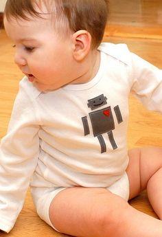 Homemade baby Valentine's Robot onesie by phoebe