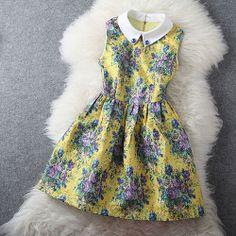 Colorful Flower Print Rhinestones Peter Pan Collar Sleeveless Bodycon Dress