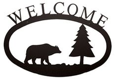 Bear & Pine Tree Wildlife Welcome Sign