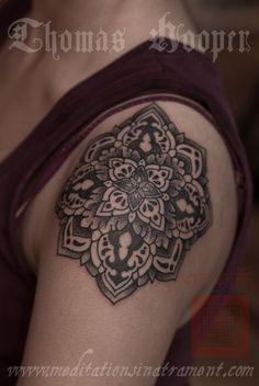 Shoulder Flower Tattoo - Tattooing By Thomas Hooper   - 007 - November 09, 2011