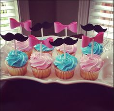 Gender Reveal cupcakes- with a colorful cream on inside