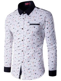 Ericdress Printed Slim Fitted Button Up Mens Shirts Camisa Floral, Castiel, Button Up, Slim, Shirt Dress, Mens Fashion, Manga, Printed, Fitness