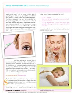 """Article by Lisa Byrd from our Beauty Feature section entitled """"Beauty; Tips, Trends and Information for 2012; talking about Heathly Skincare. Read FREE now at http://www.applaudwomen.com/ApplaudWomenSpring2012mag.html#/96/"""