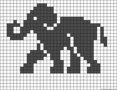 Elephant perler bead pattern by Madigra - Trends Pin Fair Isle Knitting Patterns, Bead Loom Patterns, Knitting Charts, Beading Patterns, Beaded Cross Stitch, Cross Stitch Charts, Cross Stitch Designs, Cross Stitch Patterns, Filet Crochet