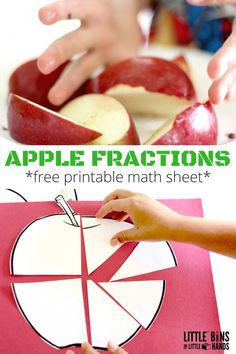 Apple fractions math activity using real apples! Explore fractions with edible… Fraction Activities, Apple Activities, Autumn Activities For Kids, Math Resources, Kindergarten Activities, Math Games, Preschool Math, Fraction Games, Preschool Rooms