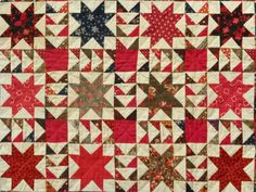 """Variable Stars"" Pieced Antique Quilt. 