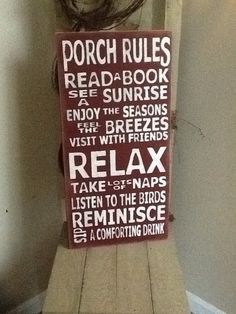 Porch Rules Wooden Primitive Sign, Family Rules Sign on Luulla admired by our rattan furniture designers. pinned by www.wickerparadise.com