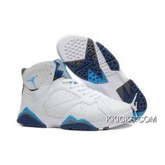 online store 667c8 0b282 Girls Air Jordan 7 Gs White French Blue-University Blue-Flint Grey For  Womens New Style. Jordan Retro ...