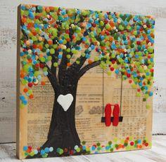 Red lovebirds & autumn tree wedding gift customizable painting