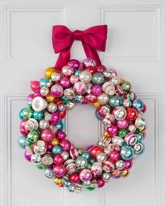 Vintage Ornament Wreath Holiday Decor Ideas | Martha Stewart Living — Brightly colored balls bring this wreath together