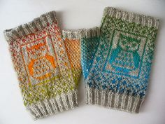 Owl mittens by SpillyJane. Pattern for purchase on Ravelry