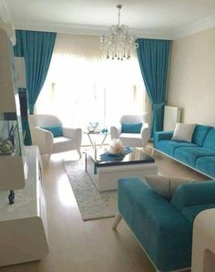 31 Living Room Color Schemes Ideas To Looking wider Living Room Design Living Room Turquoise, Living Room White, Living Room Sofa, Living Room Interior, Turquoise Couch, Apartment Living, Living Rooms, Interior Livingroom, Apartment Ideas
