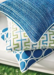 Green & Blue from Calypso at Thibaut Fabrics Space Fabric, Blue And White Fabric, Pillow Inspiration, Bright Homes, Outdoor Fabric, Indoor Outdoor, White Decor, Porch Decorating, Interior Design Inspiration