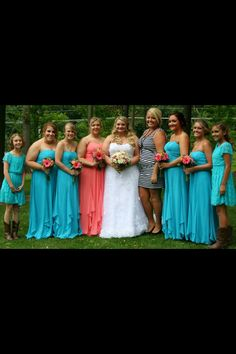 I really like the idea of having the maid of honor in a different color dress.