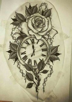 Rose and pocket watch tattoo design Tattoo Painting, Rose Drawing Tattoo, Tattoo Sketches, Tattoo Drawings, Art Sketches, Vintage Blume Tattoo, Vintage Flower Tattoo, Vintage Flowers, Time Tattoos