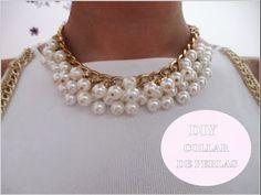 ▶ ✂ DIY collar de perlas fácil paso a paso /Nerea Iglesias. Vestido blanco y dorado ;) - YouTube