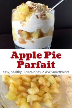 Looking for a simple breakfast or snack, or even a decadent yet light dessert with the flavors of apple pie? You'll love this healthy apple pie yogurt parfait. It's easy to make using simple ingredients with a lot fewer calories than apple pie - Only 170 Ww Recipes, Easy Healthy Recipes, Gourmet Recipes, Healthy Snacks, Snacks Recipes, Simple Apple Recipes, Ww Desserts, Weight Watchers Desserts, Dessert Recipes