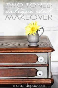 beautiful two-toned antique chest makeover with Trophy milk paint via maisondepax.com #tutorial #diy #stain #mmsmilkpaint