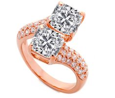 Toi et Moi Cushion Diamond Pave Engagement Ring in Pink Gold