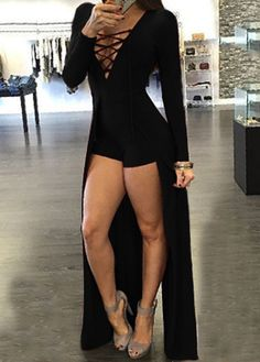 Sexy Plunging Neck Criss-Cross Long Sleeve Maxi Dress For Women