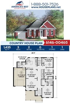 Introducing Plan 6146-00465, a Country house design featured by 1,435 sq. ft., 3 bedrooms, 2 bathrooms, a kitchen island, a covered porch, and the front entry garage feature. Learn more about this plan on our website. Country House Design, Country House Plans, Floor Plan Drawing, Building Section, Cost To Build, Dormer Windows, Construction Cost, Best House Plans, Build Your Dream Home