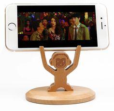 Wooden Monkey Cell Phone Holder