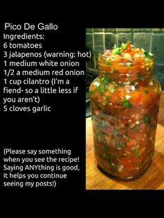Pico de Gallo - Nanas Kitchen Jar, Salsa, Mexican, Salsa Music, Jars, Dip, Glass