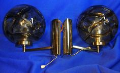 Pair Mid Century Italy Glass Ball Wall Lamp Mirror Sconces Attribute of Mazzega