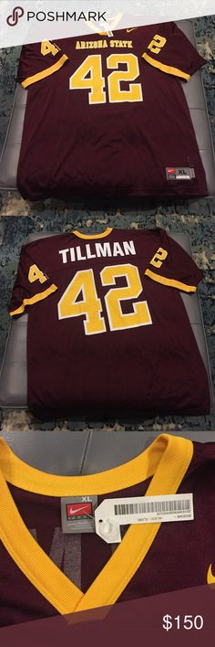 {Collectors Item} NWT Pat Tillman AZ State Jersey Only accepting list price! Authentic NWT Pat Tillman Jersey. This is a collectors item and don't be fooled by fakes. (They will have a larger print of Arizona State) This is his college jersey & they have since retired the number on behalf of Pat Tillman. If you aren't aware of who he was, he played for the NFL Arizona Cardinals & after 9/11 he chose to join the Army Rangers and died in Afghanistan. Let me know if you have any questions! ✌️️…