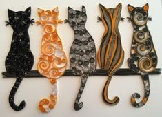 Quilling art of cats, really cute. Love the t - Quilling Paper Crafts Arte Quilling, Paper Quilling Patterns, Origami And Quilling, Quilled Paper Art, Quilling Paper Craft, Quilling Flowers, Paper Crafting, Quilling Ideas, Paper Quilling Tutorial