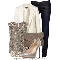 Classy Outfit...white blazer + Sparkly top. Perfect for the holidays
