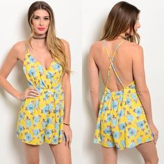 "Romper Great for spring  Cute romper NWOT  Fabric Content: 100% POLYESTER Description: L: 30"" B: 28"" W: 26 Boutique Dresses"