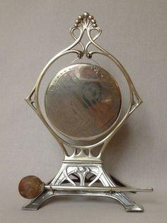 c1912 WMF Art Nouveau Jugendstil Dinner Gong Silver Plated Lady withHarp