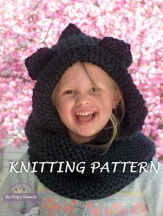 KNITTING PATTERN Hooded Cat Ears Cowl Scarf Cat by BoPeepsBonnets