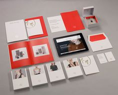 Logo, stationery and print with gold and red spot colour detail designed by ico for jewellery brand Mark Milton. Corporate Identity Design, Visual Identity, Brand Identity, Branding Design, Logo Design, Graphic Design, Logo Branding, Stationary Branding, Stationery Design