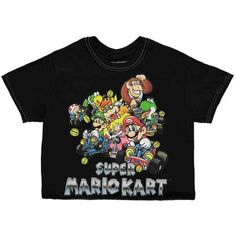 Forever21 Super Mario Kart Raw-Cut Tee ($16) ❤ liked on Polyvore featuring tops, t-shirts, crew t shirt, graphic design t shirts, crew neck t shirt, boxy t shirt and cotton tees