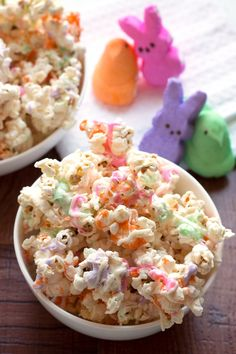 You only need four ingredients to mix up this tasty treat: popcorn, Peeps, white chocolate, and cooking spray.