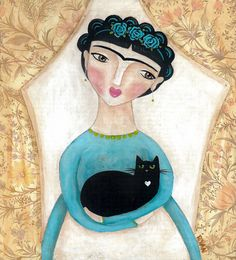 Frida And Locket Painting by Ryan Conners - Frida And Locket Fine Art Prints and Posters for Sale Diego Rivera, Frida And Diego, Frida Art, Mexican Folk Art, Cat Art, Female Art, Illustration Art, Cat Illustrations, Artsy