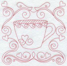 Teacup 6 (Redwork) design (G9229) from www.Emblibrary.com
