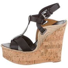 Pre-owned Ralph Lauren Collection Leather Wedge Sandals ($145) ❤ liked on Polyvore featuring shoes, sandals, black, black leather shoes, black sandals, t strap wedge sandals, black cork wedge sandals and wedges shoes