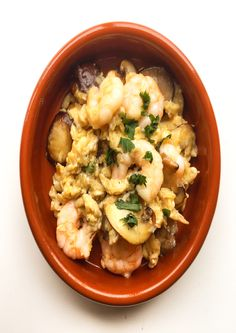 """Shrimp and mushroom """"revuelto"""". This Spanish tapa is perfect for a gourmet. In Spain you can find them everywhere. Great Spanish food !"""