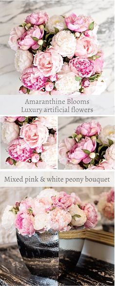 Stunning pink and white faux bridal bouquet. Luxury artificial roses ...