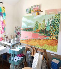 Pleasant Lake, landscape painting by Jennifer Allevato Art art studio Pleasant Lake, Home Art Studios, Art Studio At Home, Art Studio Spaces, Art Spaces, Painting Inspiration, Art Inspo, Art Studio Design, Art Studio Decor, Art Watercolor
