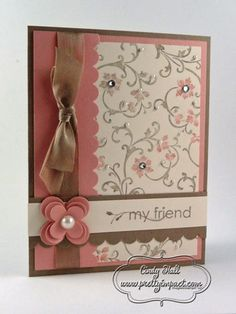 Used a Crumb Cake card base, layered with Pretty in Pink.  The main panel is Very Vanilla cardstock, stamped with Elements of Style stamp set that was colored with Crumb Cake and Pretty in Pink Stampin' Write Markers.  The stamped image was enhanced with Basic Pearls and Basic Rhinestones.