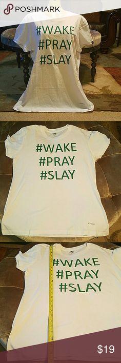 Custom Tee Shirt size L wake. pray. slay New Custom tee shirt/ Size L/ green letter white shirt custom tee  Tops Tees - Short Sleeve