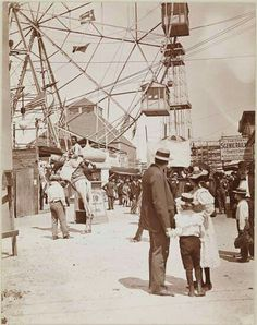 Coney Island 1896 A family peers at a man riding a camel, part of an Egyptian-themed attraction. New York Pictures, Old Pictures, Elephant Ride, Girl Standing, Coney Island, Travel News, The Good Old Days, Amusement Park, Vintage Photography