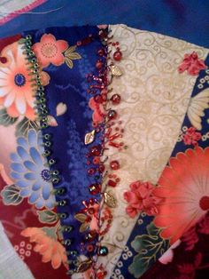 I ❤ crazy quilting . . . Brenda's fan block in progress- What gorgeous prints Brenda has chosen for her fan block. Another beautiful block with great seam embellishments.